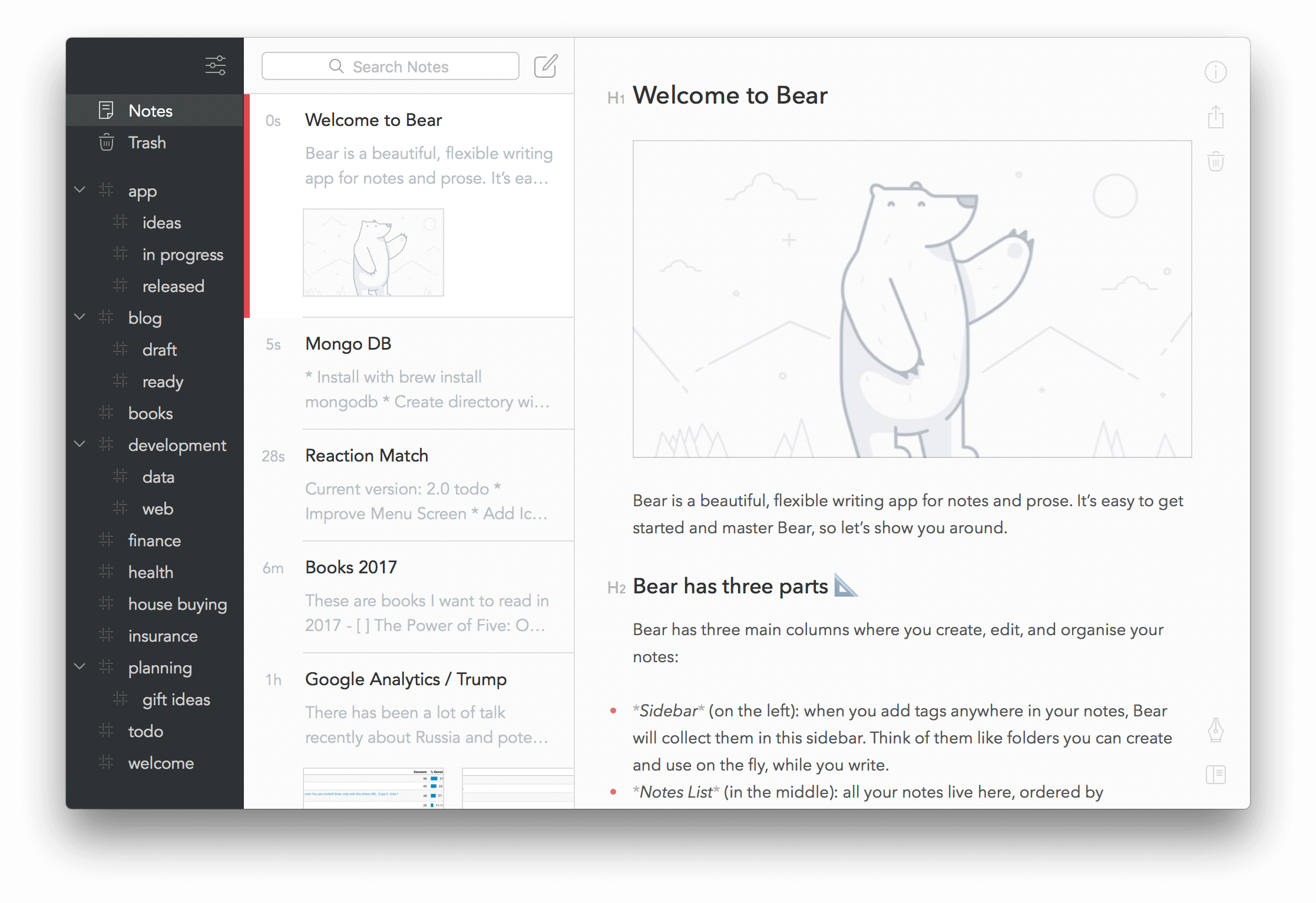 Bear - a beautiful writing app