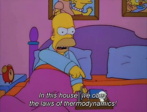 In this house, we obey the laws of thermodynamics!